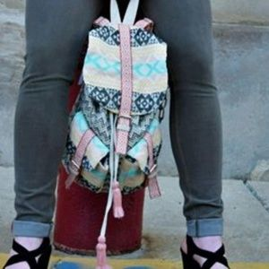 America & Beyond Bags - Pastel Tribal Print Fairtrade Cotton Backpack